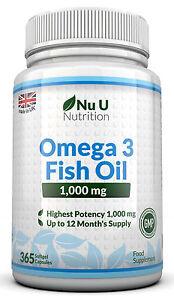 Omega-3-1000mg-Fish-Oil-High-Strength-365-Softgels-DHA-EPA-100-Guaranteed