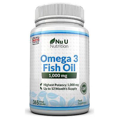Omega 3 1000mg Fish Oil High Strength 365 Softgels  DHA ,EPA 100% Guaranteed