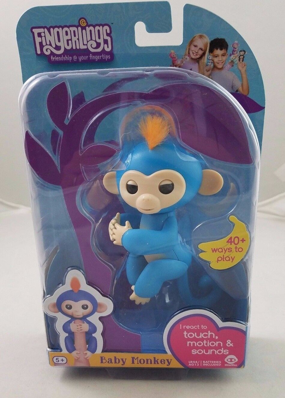 Fingerlings Baby Interactive Monkey Boris bluee 40 Sounds Finger Toy Authentic