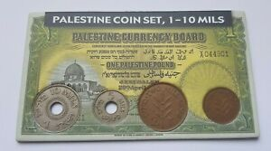 Palestine-British-Mandate-Souvenir-Coin-Set-1-2-5-10-Mils-Lot-Gift-Holder-Israel
