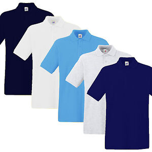 Mens-Polo-Shirt-Fruit-of-The-Loom-Heavy-Premium-Weight-New-Sizes-SIZE-SMALL