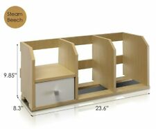 Desk Storage Shelf With Bin Supplies Organizer