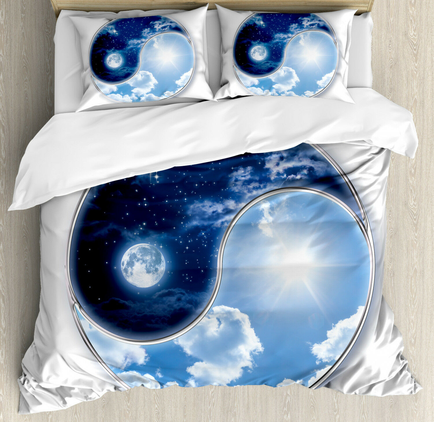 Space Duvet Cover Set with Pillow Shams Moon and Sun Figures Print