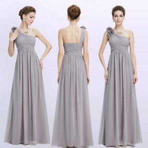 c1b0164b2cb Details about Ever-Pretty Long Bridesmaid Dress One Shoulder Formal Evening  Grey Gowns 08237
