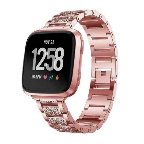 Montre Bracelet acier inoxydable avec strass Replacement Strap pour Fitbit Versa