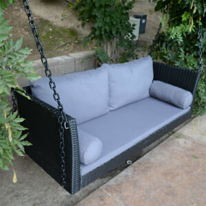 Image Is Loading 69 5 034 Black Wicker Porch Swing Chair