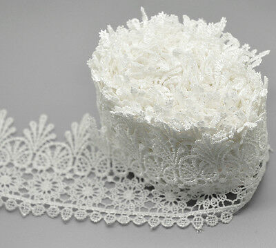 "5 Yards x4.6M White Lace Edge Trim 3-1/8"" wide"