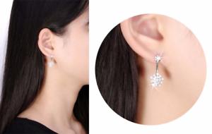 2.8ct Round Cut Diamond Flower Design Women Stud Earrings 14k White gold Finish