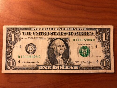 SOLID FIRST QUAD 1111 in $1 Dollar Bill FANCY UNIQUE SERIAL NUMBER NOTES