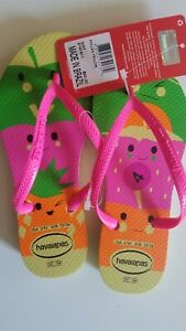 NEW-HAVAIANAS-Pollen-Yellow-Flip-Flops-Girls-Size-4-3-4Y-Brazil