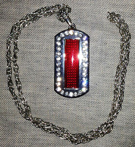 Programmable Scrolling Red Led Rhinestone Dog Tag Message