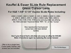 Hand-Ground-Replacement-K-E-SLide-Rule-Cursor-Glass-Lens-for-4081-7L
