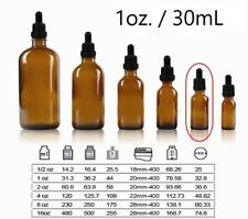 1 Oz Amber Boston Round Glass Bottles With Glass Droppers 30ml 120 Pack Bulk