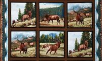 6 Beautiful Wildlife Panels Elk In Field For Quilts Home Decor & Other Projects