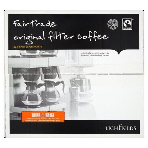Lichfields Fairtrade original café filtre 20 x 65g