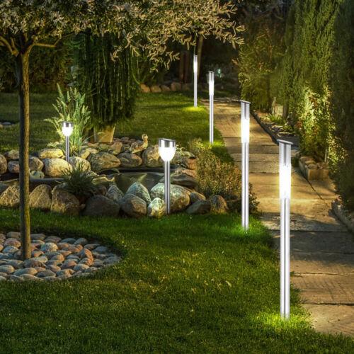 6er Set LED Solar Steck Leuchten Garten Weg Außen Lampen Edelstahl Erdspieß IP44