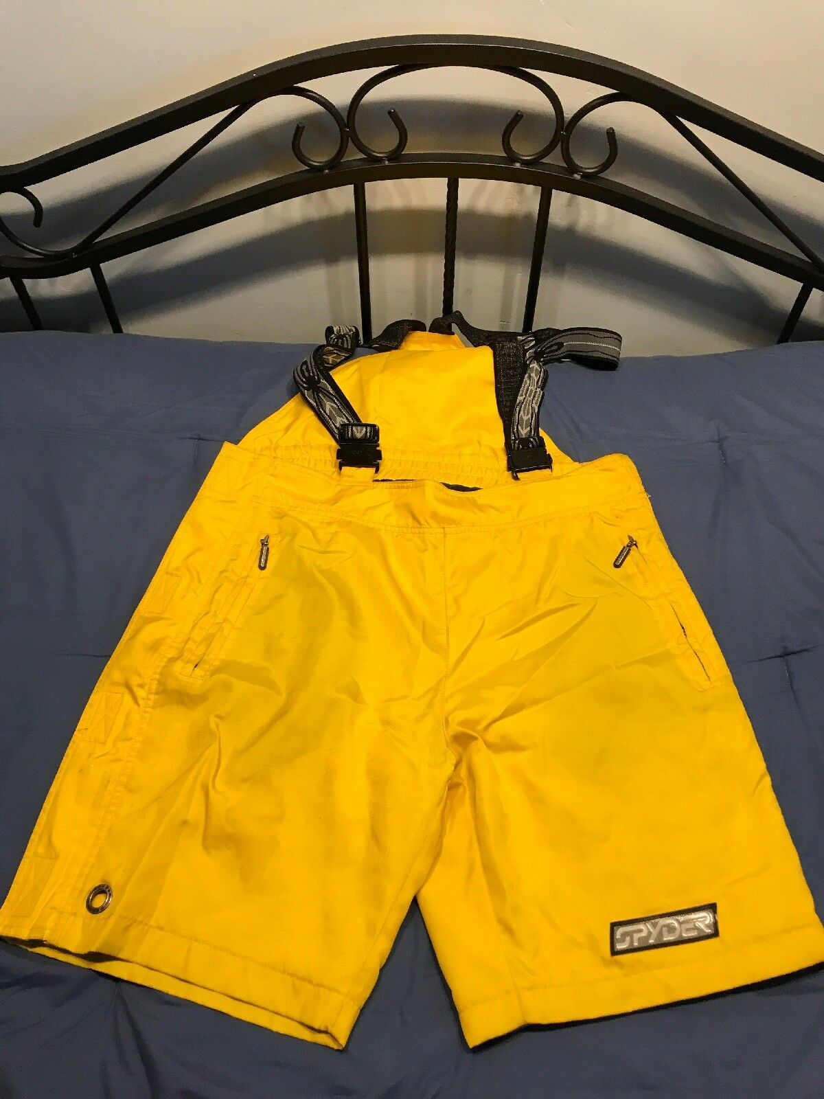 IMPERFECT Spyder Ski Snowboard Shorts Yellow Thinsulate Suspenders Large SC8