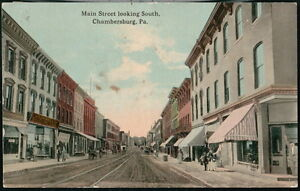 CHAMBERSBURG-PA-Postcard-Main-Street-Trolley-Tracks-5-amp-Dime-Store-Antique-View