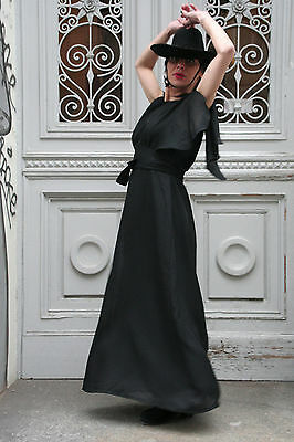 Dolce Bel Vestito Lungo Moda Sera 70er True Vintage 70´s Women Dress Long Black-mostra Il Titolo Originale