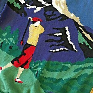 VTG-Jantzen-Herren-Golfer-Pulli-Neuheit-Knit-Golf-Club-Mount-Baumwolle-blau-gross