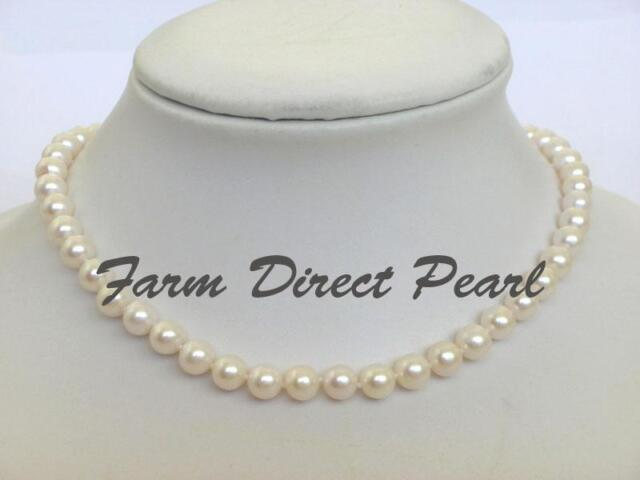 "Genuine 16"" Inch Choker Cultured Freshwater 7-8mm White Pearl Strand Necklace"