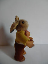 Dressed rabbit doll Bib with  Id`s  STEIFF  vintage old