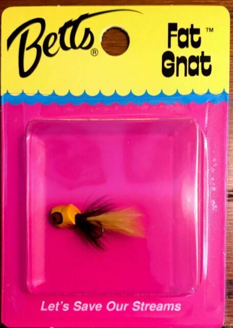 Betts Tackle Fat Gnat  Black and Yellow Fly Fishing Popper Size 12