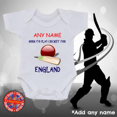 Boys Gift England Personalised Cricket Baby Grow Vest Kids t-shirt Girls