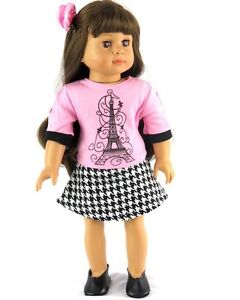 Paris-Shirt-and-Skirt-Outfit-18-034-Doll-Clothes-fits-American-Girl-dolls