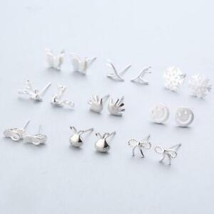 Women-925-Sterling-Silver-Splicing-Cute-Animal-Stud-Casual-Style-Girl-Earnings-P