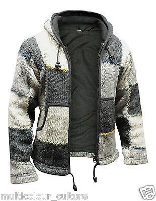 Mens Natural Wool Hippie Hoodie Fleece Lined Grey Bohemian Festival Hippy Jacket