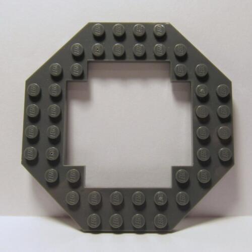LEGO Parts ~Plate, Modified 10 x 10 Octagonal Open Center DARK BLUISH GRAY 6063