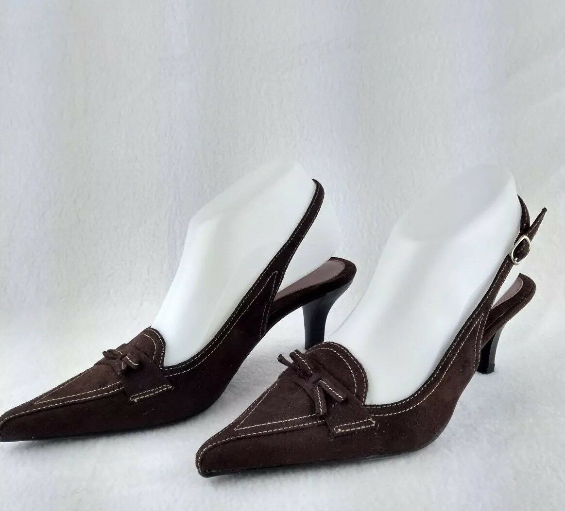 Higlights marron Heel Taille 7 Sling Back Pointed Toe
