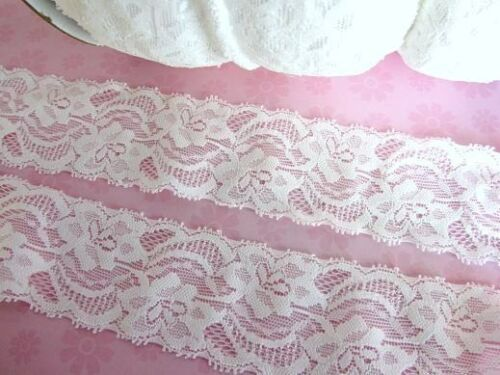 "8 yards White Elastic//Stretch 2/"" Wide 55mm Floral Lace Trim//sewing//dress T208"