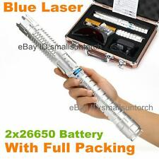 Powerful Adjustable Focus Blue Laser Pointer Lazer Pen Torch Burn Match 2x 26650