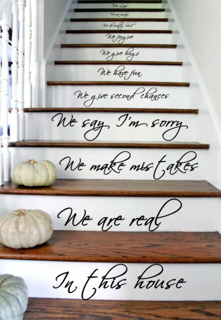 Vinyl Stairs Decal Quote In this House We Are Family, Text Wall Decor Sticker
