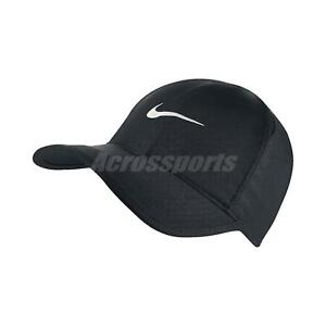 Nike Aerobill Featherlight Dri-FIT Black White Unisex Tennis Cap Hat ... 3f921ebc4bac