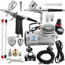 Ophir Dual Action Double Action Airbrush 110v Air Compressor Kit for Model Paint