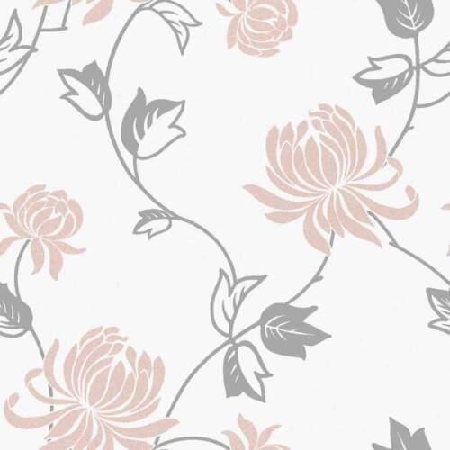 *EXCLUSIVE* Riva Modern Floral Wallpaper White Blush Pink Silver Metallic 902802