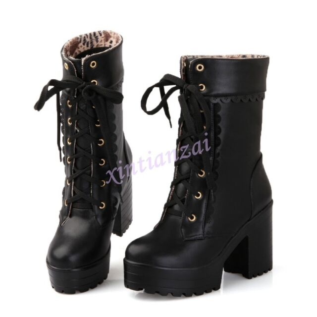 Hot Spring Womens Lace Up Platform Mid Calf Gothic Punk Boots Sweet Vogue Shoes