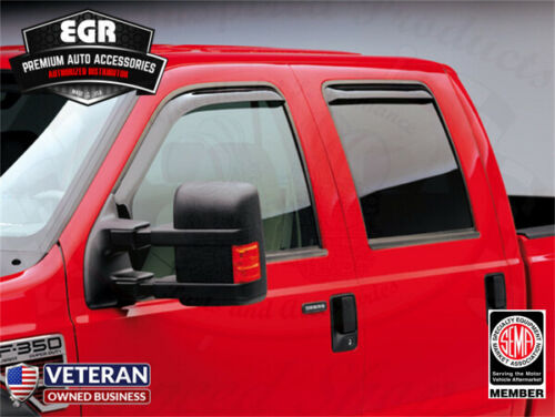 EGR Smoke In-Channel Window Visor 4pc Set 1999-2016 Ford F-250 Crew Cab 573511