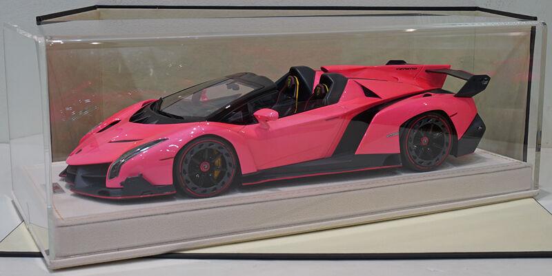 Monsieur 1 18 Lamborghini Veneno Roadster Brillant atteint. Rose Alcantara base Ltd 25pcs