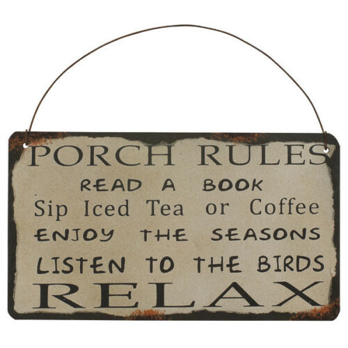 """Porch Rules Metal Antique Wisdom Sign Wall Décor Great Gift 8.75/""""Lx7.75/""""H"""