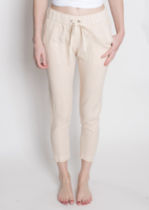 ENZA COSTA Women's Drawstring Waist Relaxed Slim Linen Pants Beige Tan 1 S  174