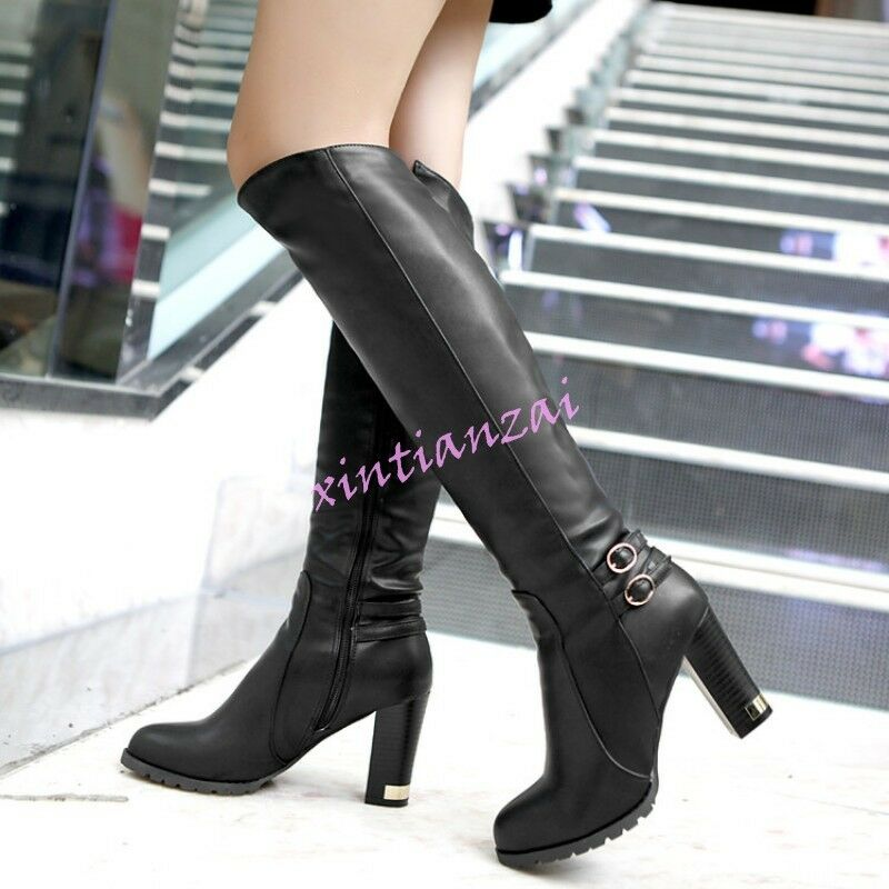 Womens Vintage Autumn Knee boots High boots Knee Metal block heels shoes zipper leather hot 69f1ac