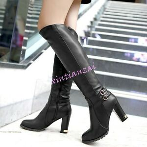 Womens-Vintage-Autumn-Knee-High-boots-Metal-block-heels-shoes-zipper-leather-hot