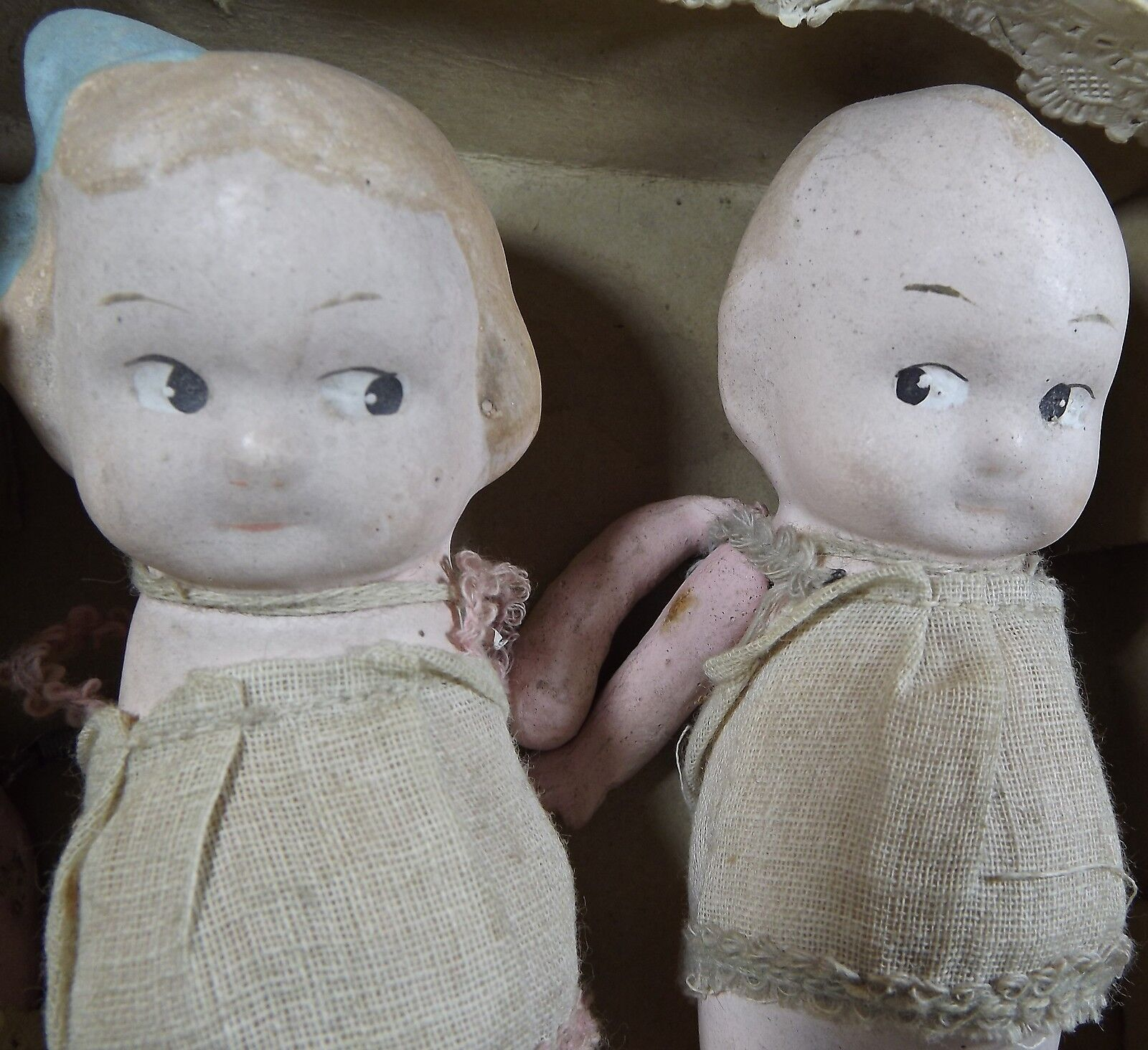 Pair Pair Pair of Boxed Vintage 12cm Kewpie-Style Composition Dolls Probably Japanese befc17
