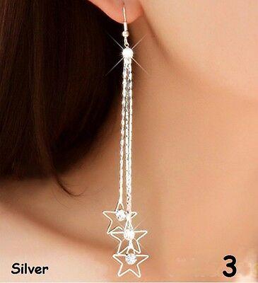 Silver & Gold Tone Long Tassle Crystal Diamante Drop Hook Party Earrings