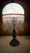 Sky Blue Beaded Painted Clouds Stained Glass Style Shade w/Lilypad Base Lamp