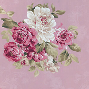Cotton-100-Satin-weave-Fabric-Bedding-Elegance-chic-Rose-Bouquet-Pink-44-w-BTY